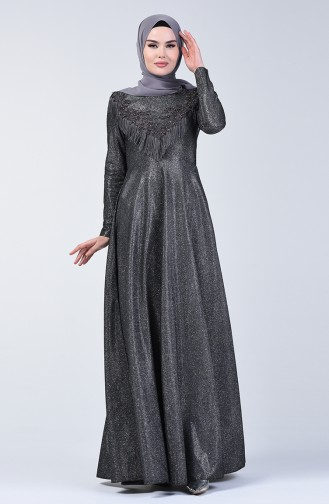 Tasseled Silvery Evening Dress 3065-01 Smoked 3065-01