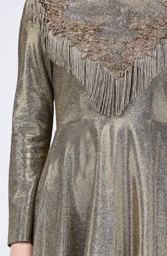 Tasseled Silvery Evening Dress 3065-02 Gold 3065-02