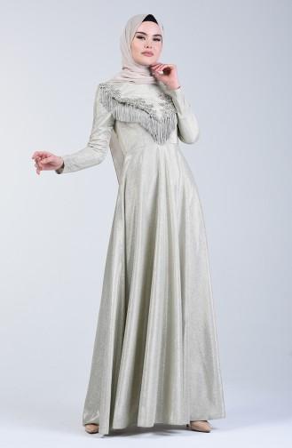 Robe de Soirér à Paillettes Avec Franges 3065-03 Beige 3065-03