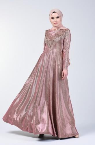 Tasseled Silvery Evening Dress 3065-05 Powder 3065-05