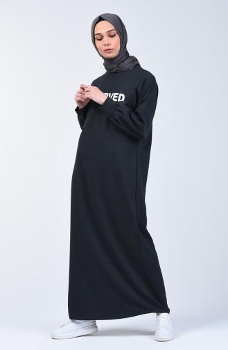 Letter Patterned Sport Dress 1700-01 Smoke 1700-01