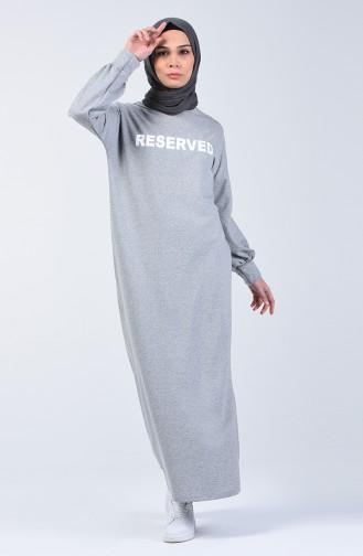 Yazı Desenli Spor Elbise 1700-02 Gri 1700-02