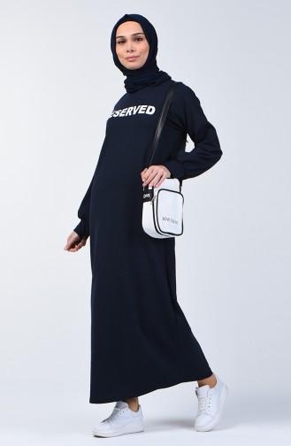 Yazı Desenli Spor Elbise 1700-04 Lacivert
