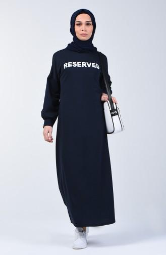Yazı Desenli Spor Elbise 1700-04 Lacivert 1700-04