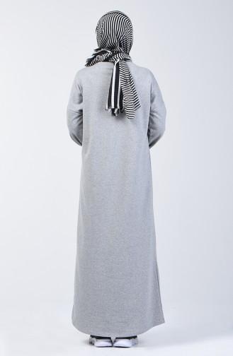 فستان رياضي بجيوب رمادي 1800-02