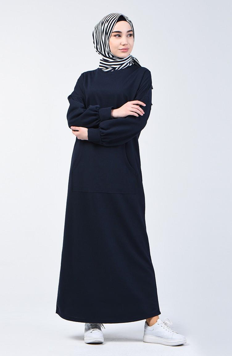 sefamerve tesettur elbise gulayra1800 04 5086571584347279358 1 Sports Dress with Pockets 1800-04 Navy Blue 1800-04