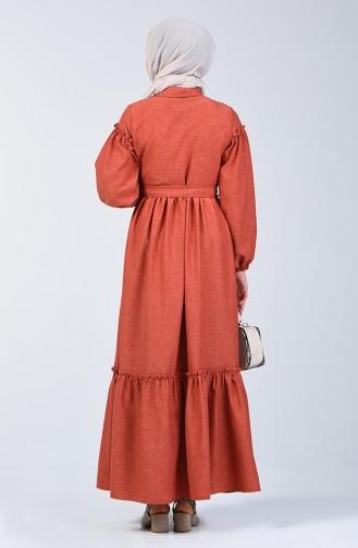Büzgülü Keten Elbise 7096-01 Kiremit
