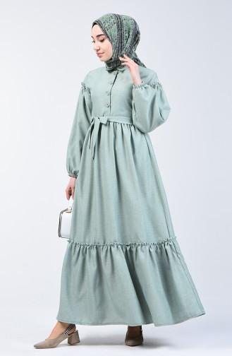 Shirred Linen Dress 7096-02   Almond Green 7096-02