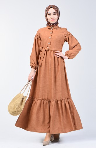 Shirred Linen Dress 7096-04 Milky Coffee 7096-04