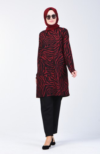 Patterned Tunic 1283-02 Claret Red 1283-02