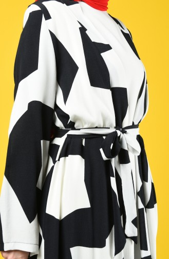 Patterned Belted Kimono 8134-01 Black White 8134-01