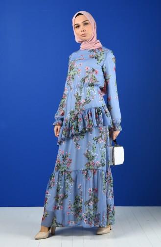 Flower Patterned Chiffon Dress 8221-02 Blue 8221-02