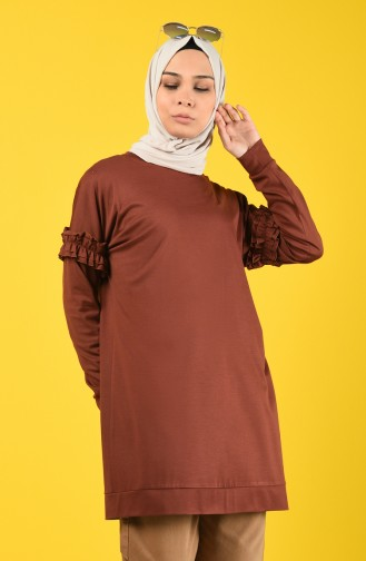 Sleeve Frilled Sweatshirt 8227-03 Brown 8227-03
