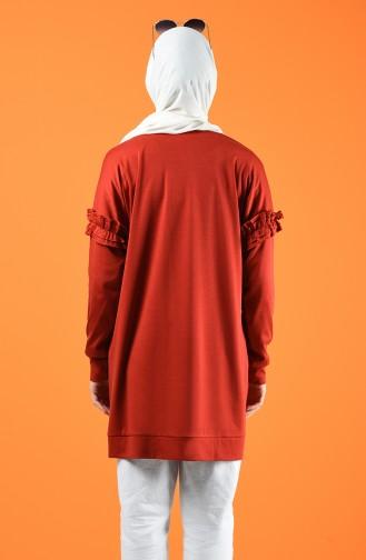 Kolu Fırfırlı Sweatshirt 8227-04 Kiremit