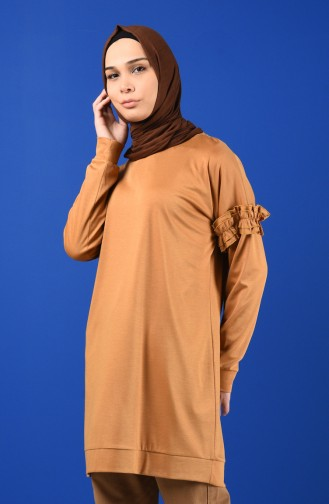 Kolu Fırfırlı Sweatshirt 8227-05 Hardal