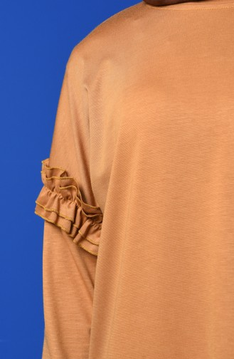 Sleeve Frilled Sweatshirt 8227-05 Mustard 8227-05