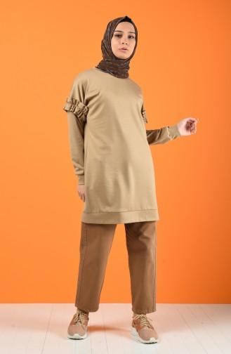 Kolu Fırfırlı Sweatshirt 8227-06 Açık Vizon