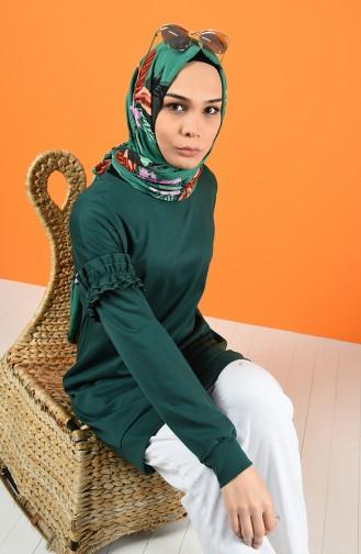 Kolu Fırfırlı Sweatshirt 8227-07 Zümrüt Yeşili