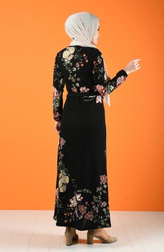 Patterned Belted Dress Black 0364-01