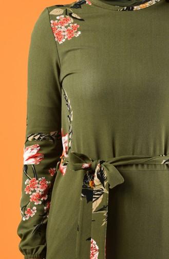 Patterned Belted Dress Khaki 0364-02