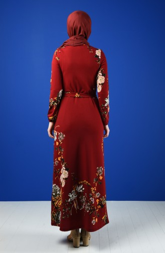 Patterned Belted Dress Bordeaux 0364-03
