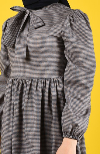 Fiyonklu Elbise 1374-03 Lacivert Vizon