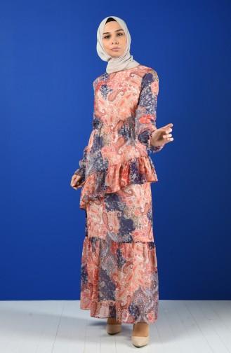 Robe Mousseline à Motifs Fleurs 8221-04 Fleur de Grenade 8221-04