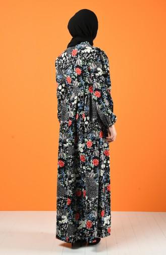 Fiyonklu Elbise 8224-01 Siyah