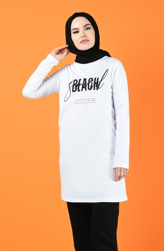 Letter Patterned Sports Tunic 7017-03 White 7017-03