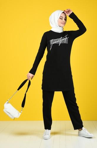 Baskılı Spor Tunik 7018-01 Siyah