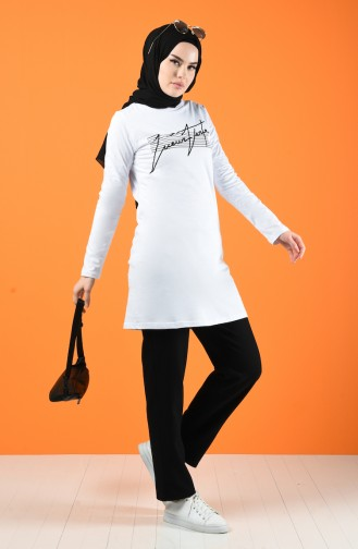 Printed Sports Tunic 7018-03 White 7018-03