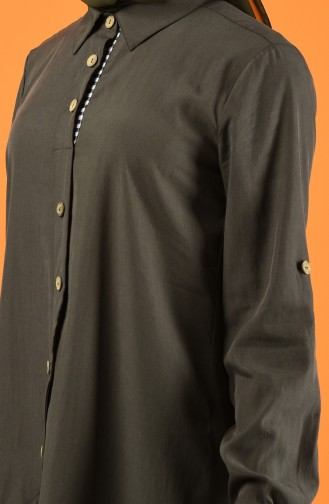 Button Detailed Tunic Khaki 4701-04