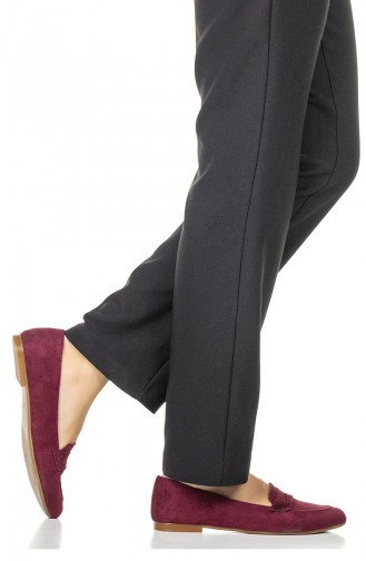 Women s Flat Shoes 1710-05 Claret Red Suede 1710-05