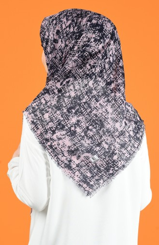 Patterned Flamed Scarf 901599-05 Powder Navy Blue 901599-05