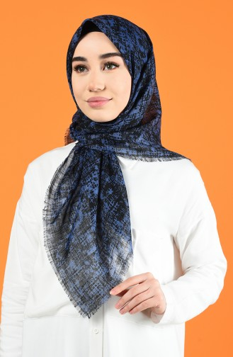 Patterned Flamed Scarf 901599-08 Navy Blue 901599-08