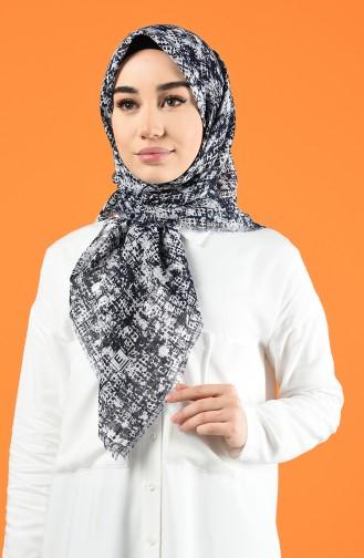 Desenli Flamlı Eşarp 901599-13 Beyaz Lacivert