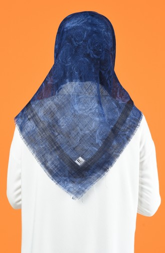 Patterned Flamed Scarf 901603-14 Navy Blue 901603-14