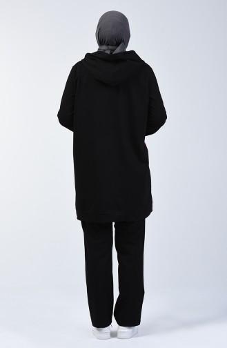Büyük Beden Kapüşonlu Eşofman Takım 10036-05 Siyah
