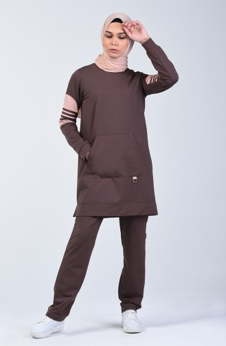Tracksuit Set with Pockets 9206-03 Brown 9206-03