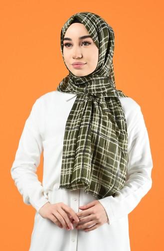 Patterned Cotton Shawl Khaki 901605-05