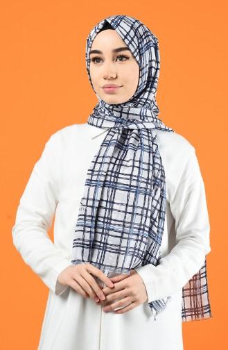 Desenli Pamuksu Şal 901605-08 Beyaz Lacivert