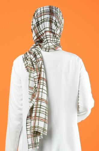 Patterned Cotton Shawl Ecru Khaki 901605-10