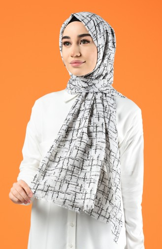 Patterned Cotton Shawl Ecru Black 901608-14