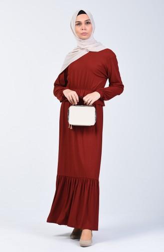 Beli Lastikli Elbise 0215-04 Taba
