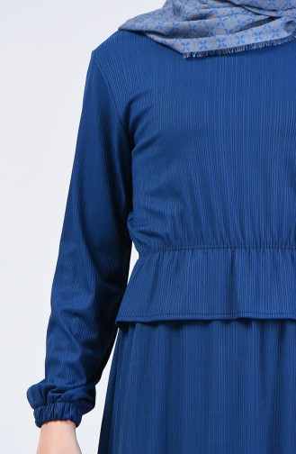 Beli Lastikli Elbise 0215-05 İndigo