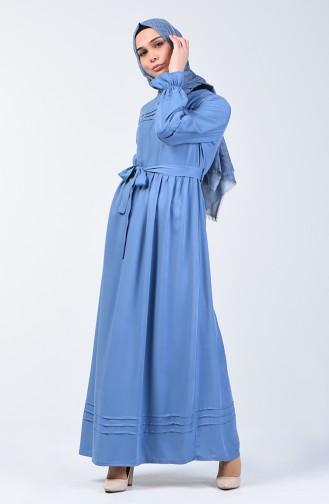 Nervürlü Kuşaklı Elbise 8018-01 İndigo