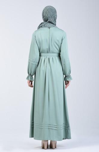 Nervürlü Kuşaklı Elbise 8018-04 Çağla Yeşili