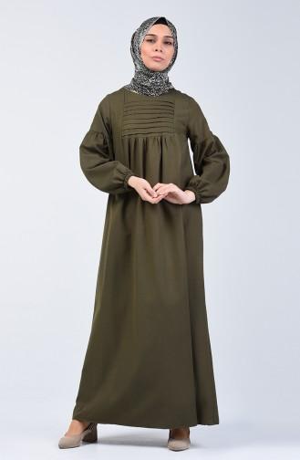 Kolu Lastikli Nervürlü Elbise 8036-01 Haki