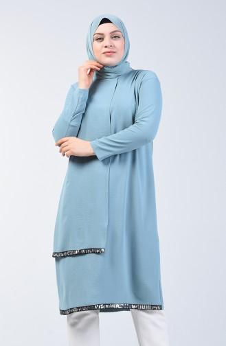 Büyük Beden Aerobin Kumaş Pullu Tunik 1053-05 Mint Mavi