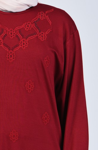 Plus Size Stone Printed Tunic 6043-05 Claret Red 6043-05